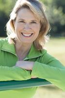 Caucasian woman smiling outdoors