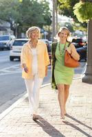 Caucasian women walking on city sidewalk