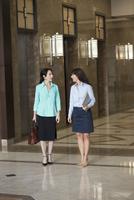 Caucasian businesswomen talking in lobby