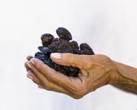 Caucasian woman holding prunes