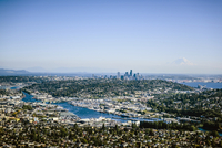 Aerial view of Seattle cityscape, Washington, United States