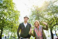Caucasian couple posing outdoors