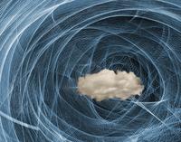 Storm cloud in light streaks