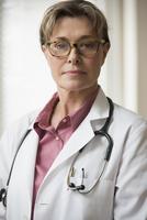 Caucasian doctor wearing stethoscope