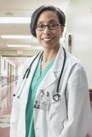 Black doctor smiling in hospital
