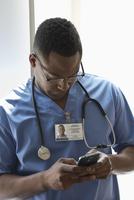Nurse using cell phone