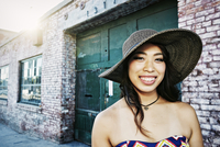 Japanese woman smiling outdoors