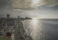 High angle view of Havana waterfront, Havana, Cuba