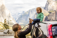 Caucasian mother and daughter in Yosemite National Park, California, United States