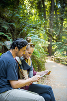 Hispanic couple reading map in forest