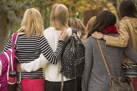College students hugging on campus