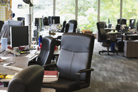 Chairs and desks in empty office