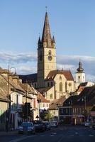 Clock tower in Sibiu cityscape, Sibiu, Romania
