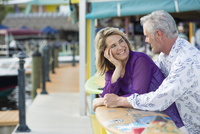 Older Caucasian couple smiling outdoors