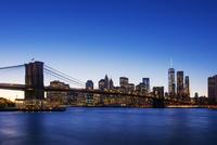 New York cityscape and Brooklyn Bridge, New York, United States