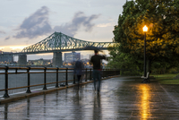 Blurred view of people on Montreal waterfront, Quebec, Canada