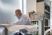 Businessman reading blueprints in office