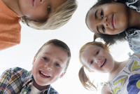 Low angle view of smiling children