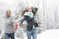 Couple walking in snow