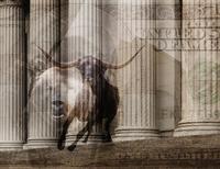 Bull, one hundred dollar bill and pillars of ornate building