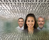 Business people in streams of binary code