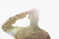 African American soldier saluting