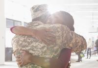 Returning soldier hugging wife