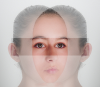 Double exposure of face of mixed race girl