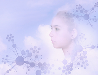 Face of mixed race girl floating in sky with molecule patterns