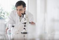 Mixed race scientist using microscope in laboratory 11018069245| 写真素材・ストックフォト・画像・イラスト素材|アマナイメージズ