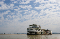 Ferry floating in remote river