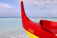 Boat docked at beach