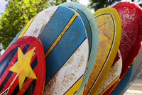 Close up of surfboards on beach
