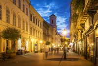 Blurred view of people in street, Budapest, Hungary
