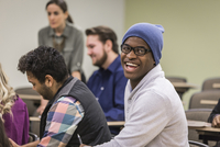 College student laughing in classroom