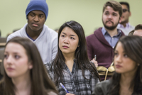 College students listening in classroom
