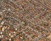 Aerial view of suburban landscape, Albuquerque, New Mexico, United States