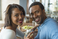 Couple smiling in cafe