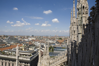Milan Cathedral overlooking Milan cityscape, Lombardy, Italy