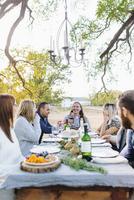 Friends drinking wine at outdoor table 11018071547| 写真素材・ストックフォト・画像・イラスト素材|アマナイメージズ