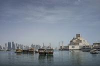 Doha cityscape and harbor, Doha, Qatar