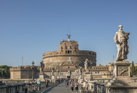 Sant Angelo Castle and statues under blue sky, Rome, Lazio, Italy