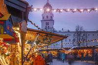 Outdoor Christmas market illuminated at night