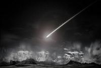Comet over remote landscape