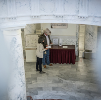 Sightseers taking tour of capitol