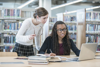 Librarian helping student use laptop in library