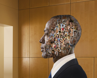Collage of faces in head of businessman