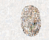 Collage of faces in fingerprint
