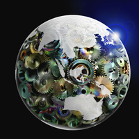 Earth made of gears in outer space