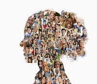 Silhouette of businesswoman with collage of faces